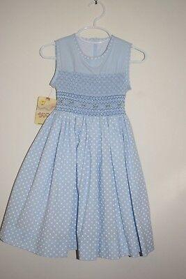 Light Blue Dress For Girl (NWT Spring Light Blue Beautiful Roses Smocked Girl Dress)
