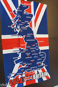 Union Jack & map of Great Britain tea towel NEW perfect 100% cotton England UK