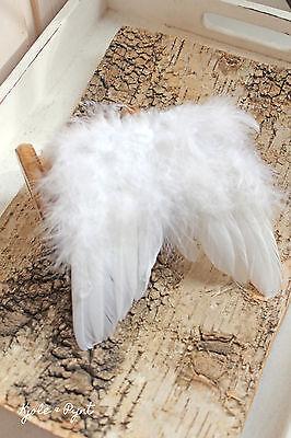1x zarte Flügel aus echten Federn weiß 12 x13cm Weihnachte Hochzeit Vintage Deko