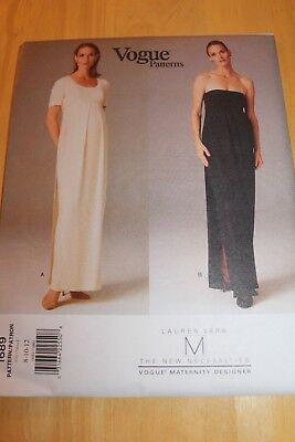 Vogue Pattern Lauren Sara Maternity #1689 Size 8,10,12 Misses' Maternity Dress
