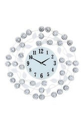 Large 21 Inch White Metal Floral Accented Wall Clock