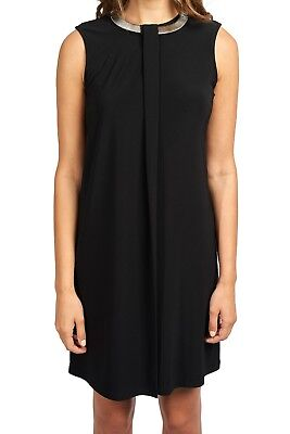 Joseph Ribkoff Black Cleopatra Neck Sleeveless Dress US 10 (UK 12) New 173012