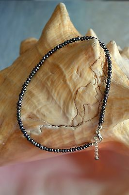 Italian .925 Sterling Silver & Freshwater Peacock Pearl Anklet ~ 10 to 11 inches