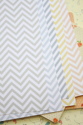 Chevron Pastel Card Stock 250gsm printed zigzag pattern wedding craft postcard - Chevron Cardstock