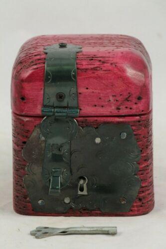 New Rustic Purple Wood Trinket Box Hand Made/Painted W/ Key Mexican Folk Art