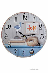 13 Large Wood Vintage-Style Cape Cod Nautical Sea Beach Wall Clock