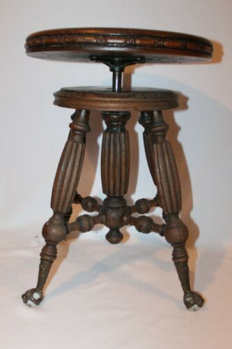 Antique Victorian Walnut H. Holtzman & Sons Adjustable Piano Stool,