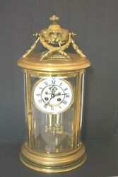 Antique 19thc French Crystal Regulator Bronze Brass Mantel Clock Working Cond.