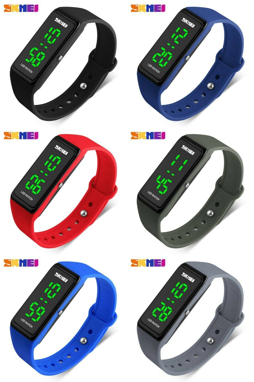 SKMEI 1265 LED Mode Digitaluhr Kinder Herren Damen Silikon Armbanduhr Wasserdich