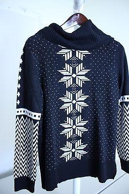 - Talbots Lambswool Blend Navy, Black & White Fair Isle Sweater Size Large