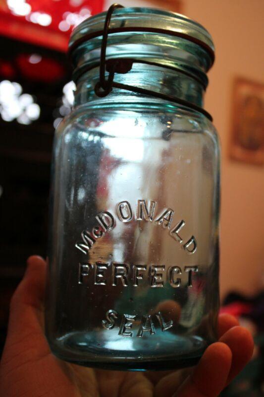 Antique 1qt Blue (McDONALD) Perfect Seal, Mason Jar, Item # A - 1320