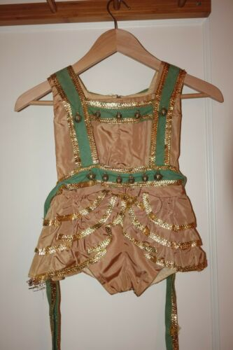 Antique Vintage 1940s 1950s Girls Blush Pink Green Pony Ballet Costume SZ 5