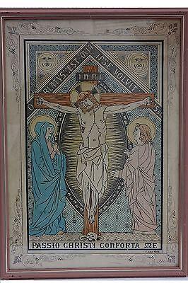 Kreuzigung aquarellierte Federzeichnung, signiert E.Adam 1904