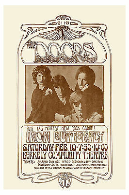 Classic Rock: Jim Morrison & Doors & Iron Butterfly at Berkeley Poster 1969