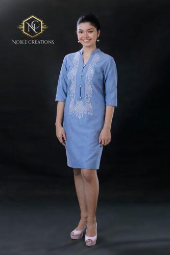 Filipiniana Embroidered Barong Linen Dress Philippines Terno Maria Clara - Blue