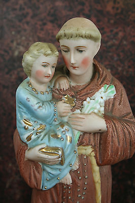 Antique french Porcelain Holy saint Anthony  statue Religious figurine