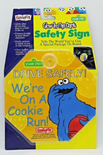 Glow in the Dark Automobile Safety Sign Sesame Street~Cookie Monster NEW!