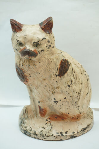 ANTIQUE CAST IRON DOOR STOP CAT KITTEN RARE SITTING DOORSTOP KITTY LEFT FACING