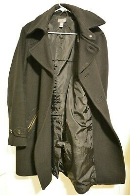H&M Wool-Blend Pea Coat HM Peacoat Collar Jacket Black Men's Size 40R Pre-Owned