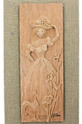 Hand Carved Wood Mid Century Art Plaque Woman Rooster Flower Matted Signed Helen