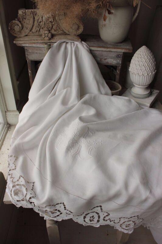 Antique French linen sheet trousseau FINE Fil  GL STUNNING finely woven 92 X 130