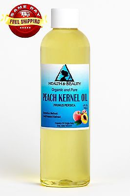 PEACH KERNEL OIL ORGANIC REFINED COLD PRESSED PREMIUM FRESH 100% PURE 4 OZ 100% Pure Organic Peach