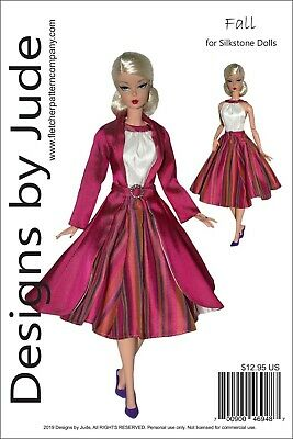 Fall Dress & Coat Doll Clothes Sewing Pattern for Silkstone Barbie Dolls