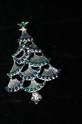 Vintage Christmas Tree blue Green dots, brushed silver tree brooch Blue Green Silver Christmas Trees