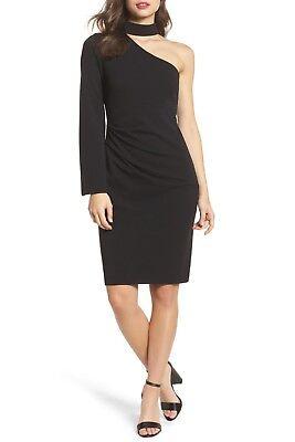 VINCE CAMUTO Black Stretch Crepe Choker One Sleeve Shoulder LBD Sheath Dress 8 M