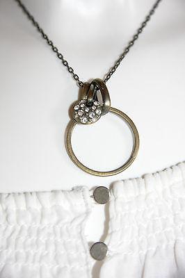 Modeschmuck Kette Longkette Halskette  lila silberfarben Herz Leder neu #9097