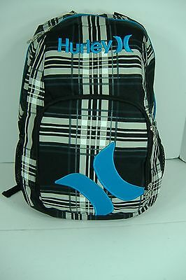 New Mens Hurley Blue Plaid Backpack School Skateboard Book Bag LAST UNITS
