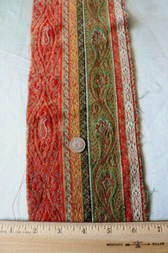 "Antique c1860 Wool Paisley Stripe Kashmir Woven Fabric Piece~L-27"" X W-5"""