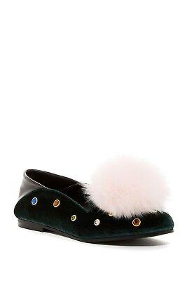 Ivy Kirzhner MUSICAL New Jewel Embellished Velvet Nappa Loafer Flat Rabbit 41/10