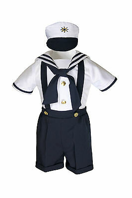 New Navy Nautical Sailor Costume Suit Tuxedo Toddler & Boys Sz: 0-24M 2T 3T 4T - Toddler Marine Costume