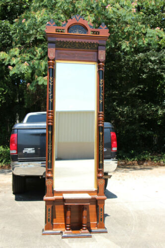 Superb Fancy Walnut Victorian Aesthetic Eastlake Marble Top Pier Mirror Ca.1880