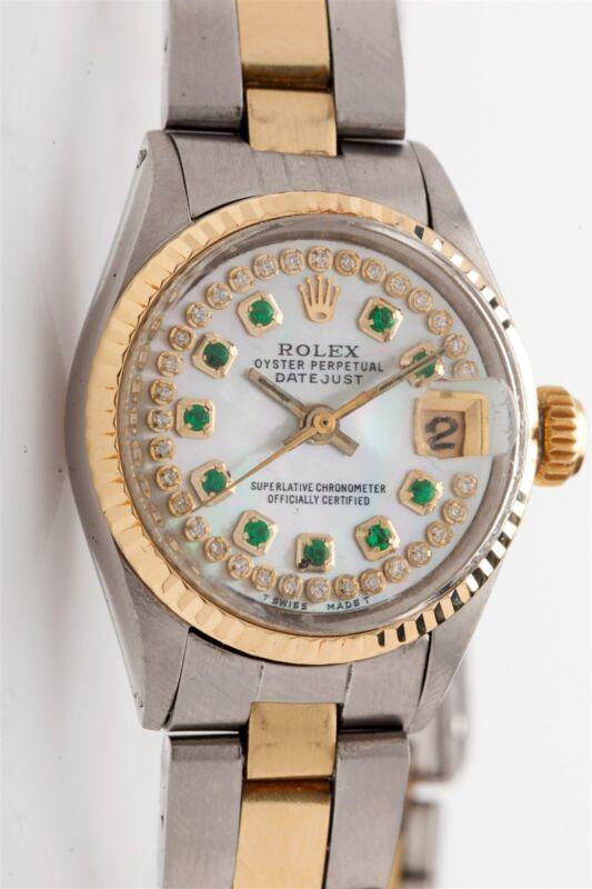 Estate $7000 14k Gold Ss Rolex Ladies Datejust Mop Emerald Diamond Watch Box Wty