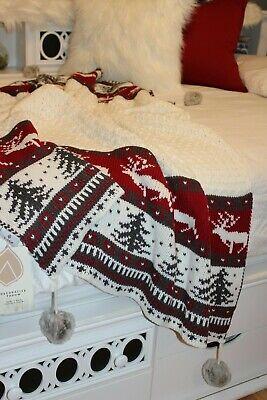 Nwt Pom Pom Throw Blanket Fair Isle Faux Fur Pom Aspen Okemo Red Ivory Alpine