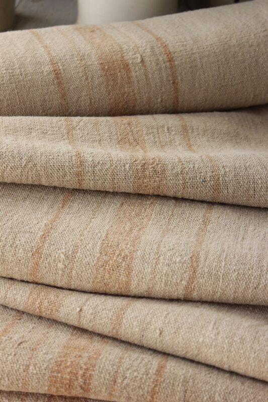 Grain sack grainsack fabric vintage linen 9.8 y toffee caramel NUBBY upholstery