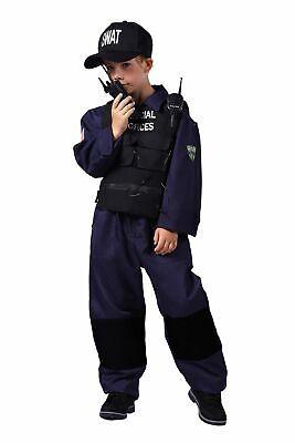 4-teiliges SWAT SPECIAL FORCES Kinder Kostüm Jungen Overall Weste Hut - Special Forces Kind Kostüm