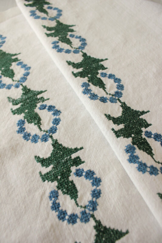 Vintage Hungarian hand embroidered towel cloth embroidery hand stitched
