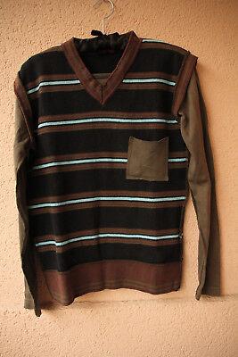 Braun/Schwarz/Türkis gestreifter Pulli mit V-Ausschnitt von Wasabi, Größe L Schwarz, Wasabi