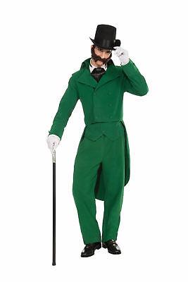 Caroling Gentleman Green Adult Costume Suit Dickens Victorian Caroller Std Xmas - Green Suit Costume