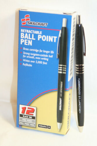 Skilcraft U.S. Government Retractable Ballpoint Pen Medium Point Black Ink 12 EA