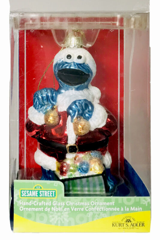 Sesame Street Hand Crafted Glass Christmas Ornament COOKIE MONSTER Kurt Adler