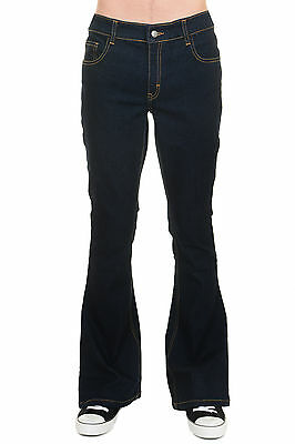 Mens Run & Fly 70s Retro Vintage Indigo Blue Stretch Denim Bell Bottom Flares