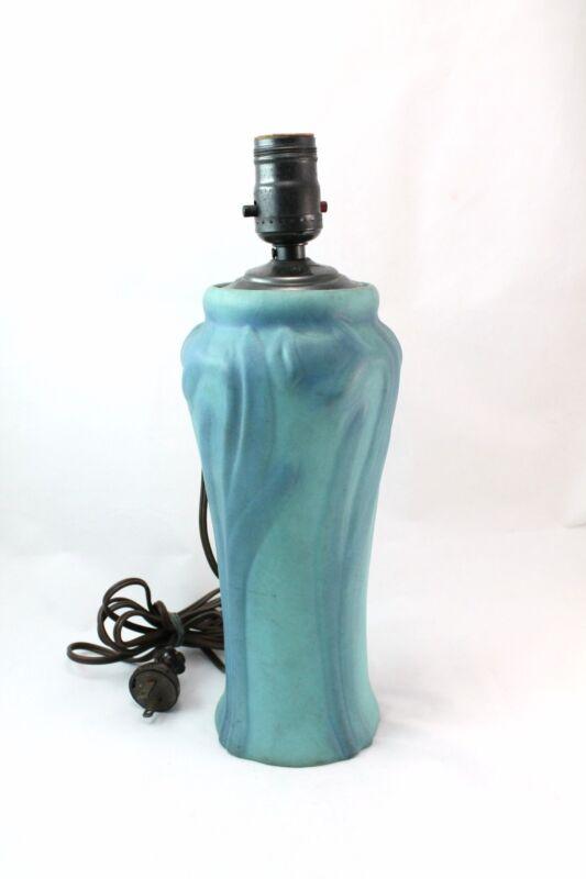 Rare Van Briggle Floral Matte Seafoam Green Blue Art Pottery Lamp Vase