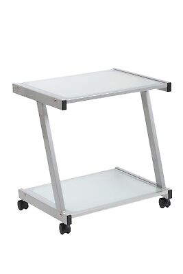 New Silver Metal Frosted Glass Mobile Computer Printer Cart Stand On Wheels