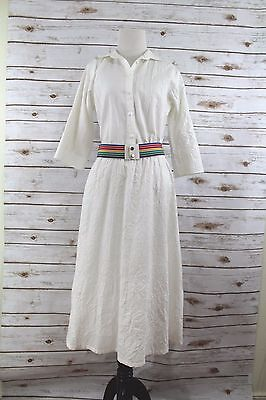 (Vintage Toni Todd Womens Dress  Off White cotton Size 10 Belted rainbow)