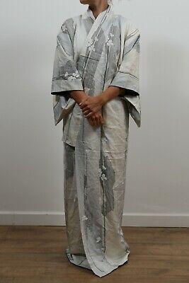 Authentic traditional vintage Japanese kinsha silk komon kimono ombre lining