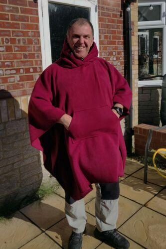 Red Fleecy hooded blanket poncho / camp blanket